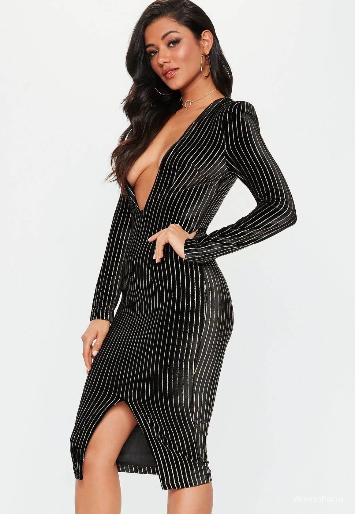 Черное платье в полоску
