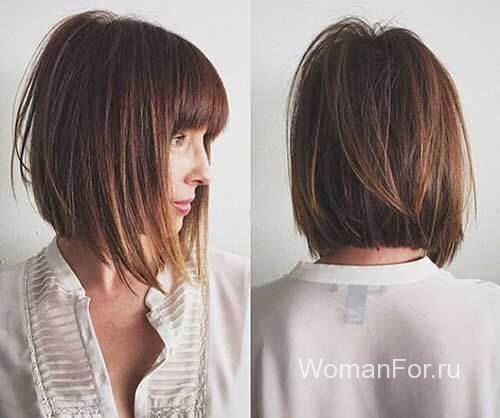 Каре стрижка темно-русые волосы