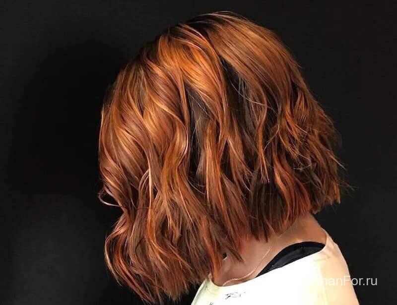 Каштановые волосы с челкой