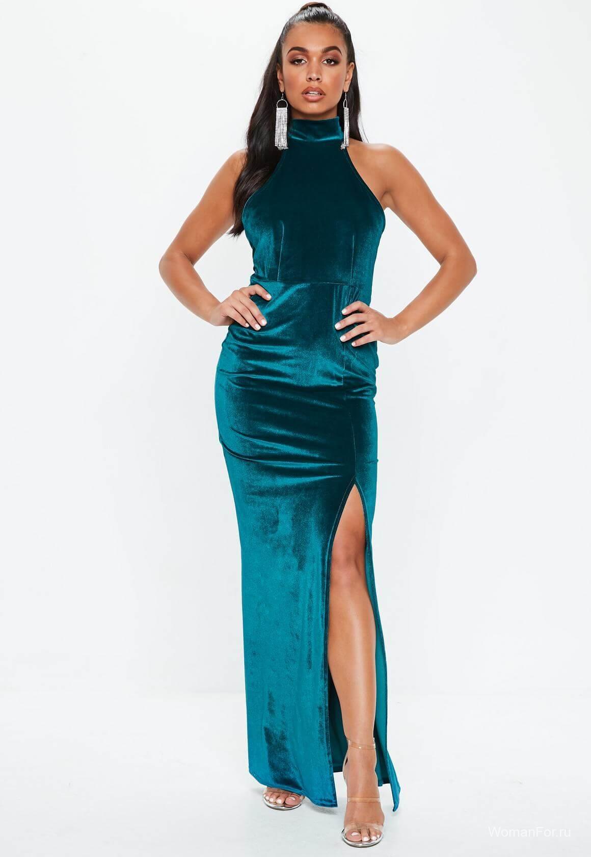 Платье зеленый вельвет