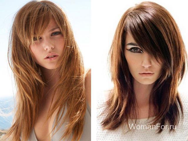Темные волосы с челкой