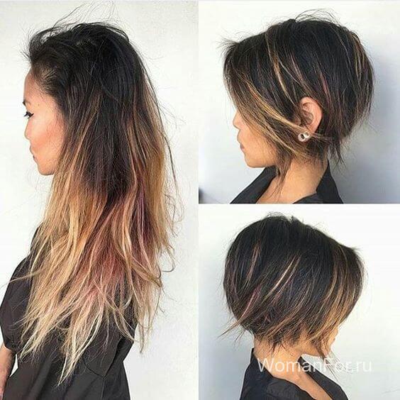 Волосы омбре с длинной челкой
