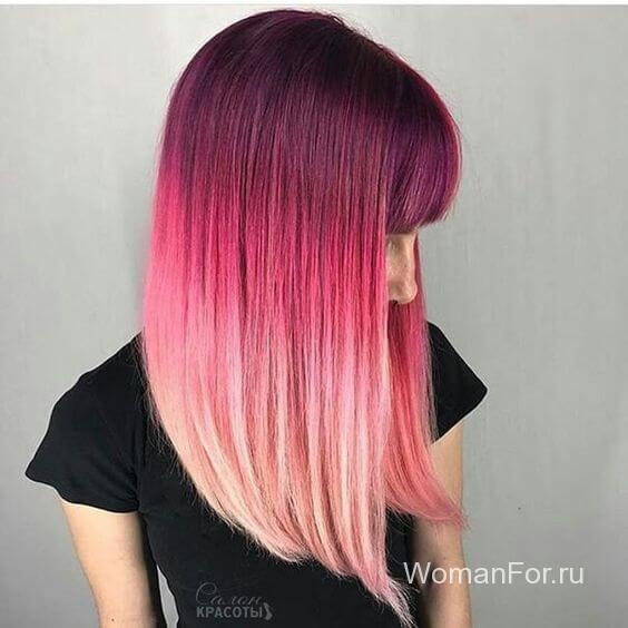 Волосы с градиентом с челкой