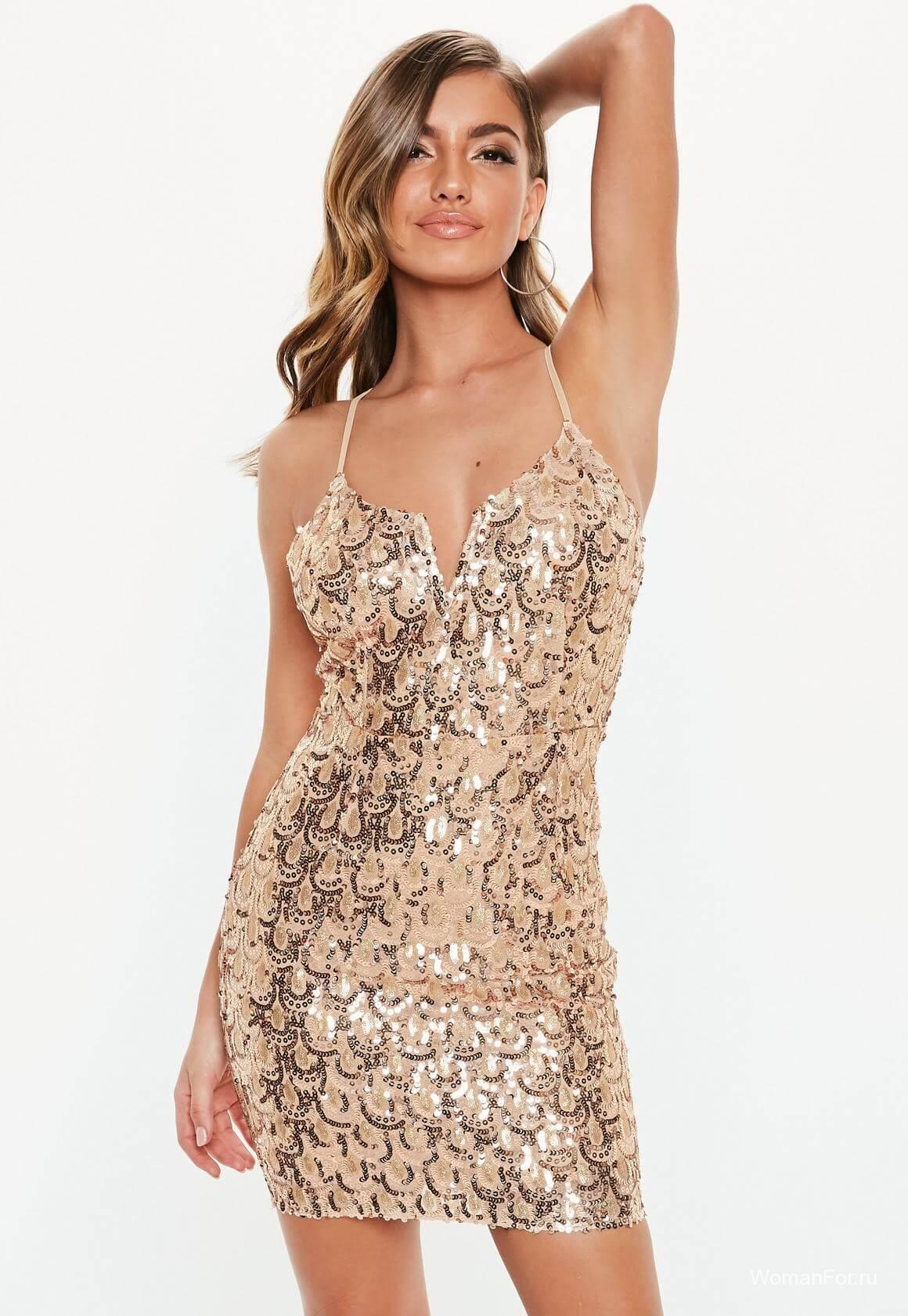 Мини платье - цвет золото